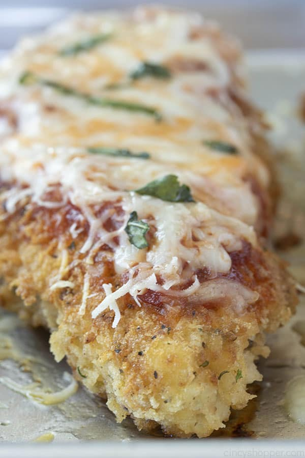classic Italian chicken breast with panko breadcrumb coating and cheese on top