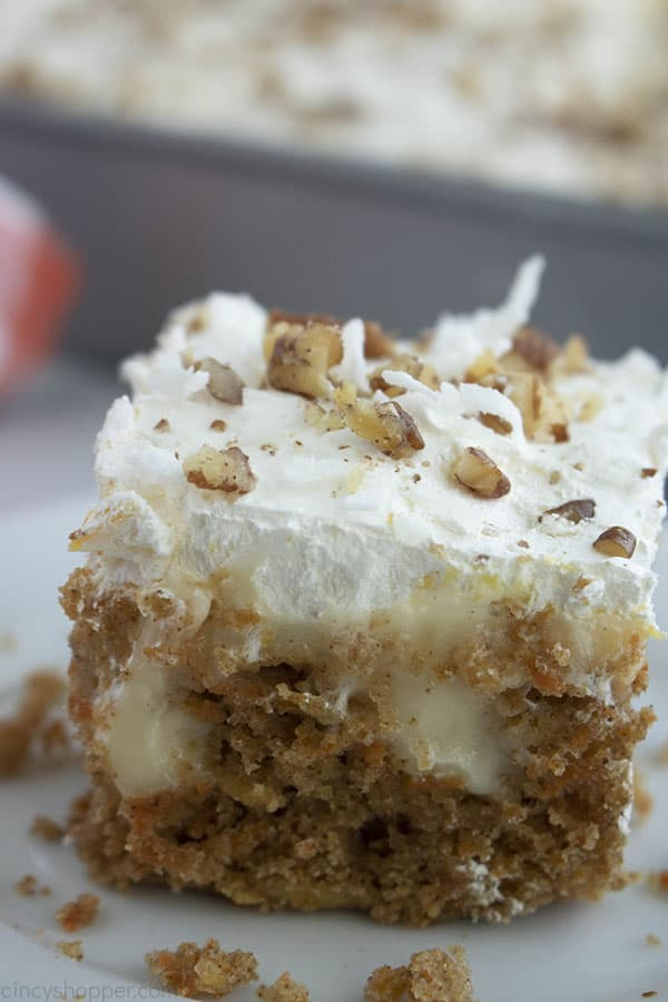 Piece of Carrot Cake from boxed mix,
