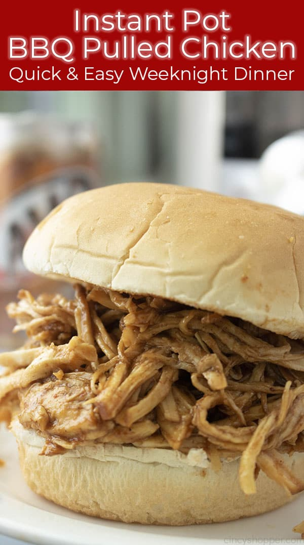 Long collage Instant Pot Shredded Chicken BBQ Style sandwich