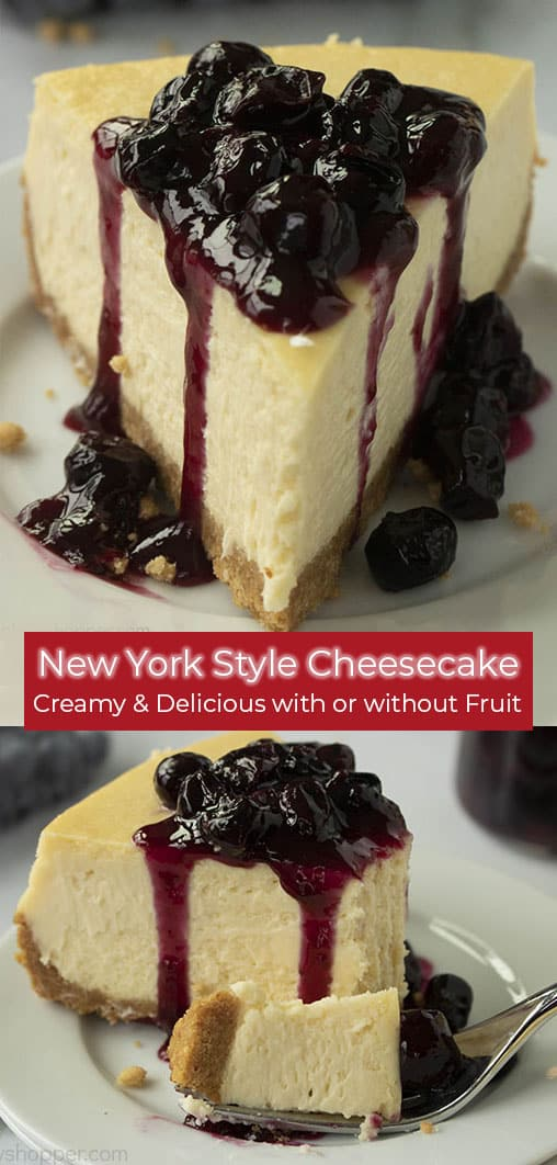 ny style cheesecake with blueberry sauce