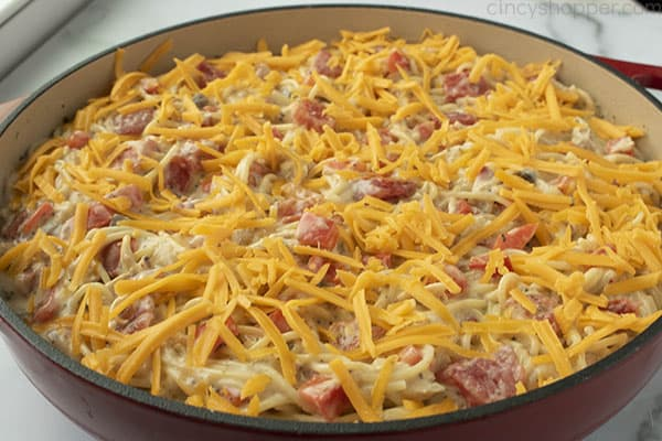chicken spaghetti casserole, ready to be baked in an oven