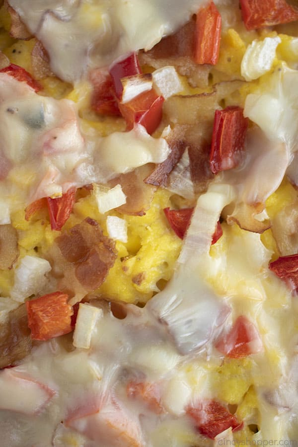 close up image of toppings on a pizza