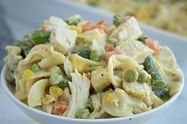 small bowl of chicken with vegetables and pasta