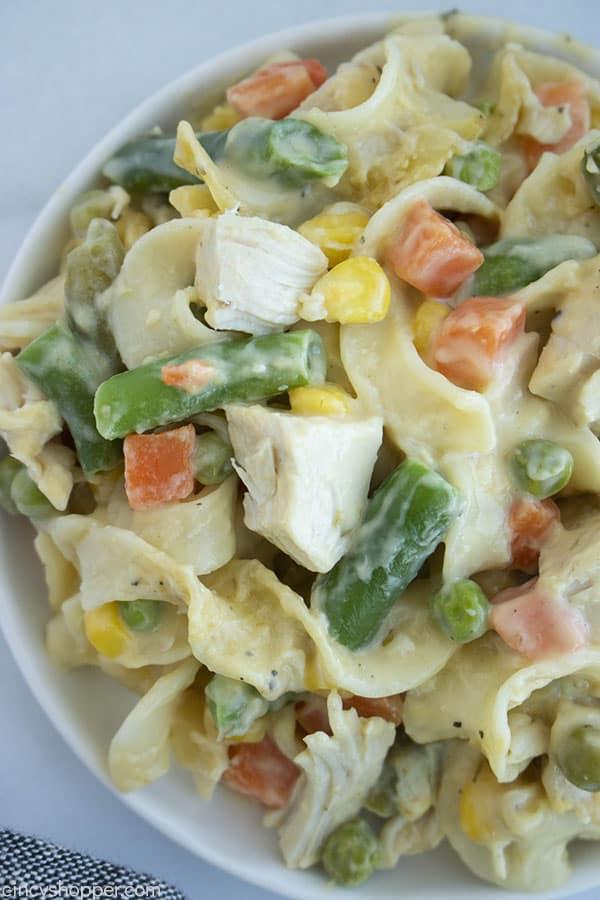 bowl of creamy chicken noodle casserole