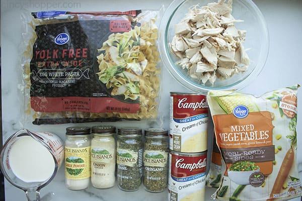 ingredients to make chicken noodle casserole recipe