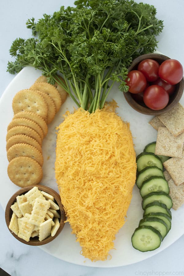 Carrot Easter Cheese ball appetizer with sides