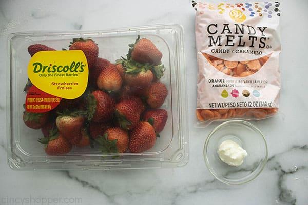 Ingredients to make Easter strawberries