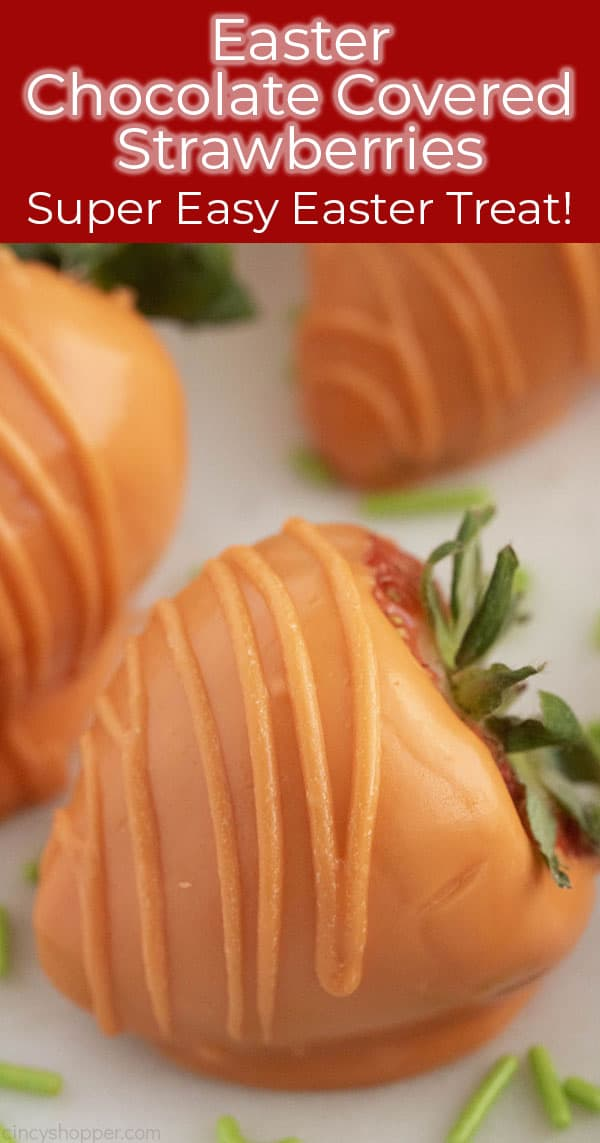Easter Chocolate Covered Strawberry Carrot with text