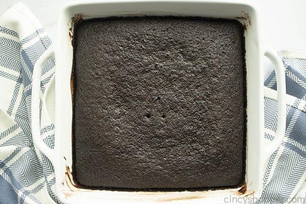 rich vegan wacky cake in baking pan