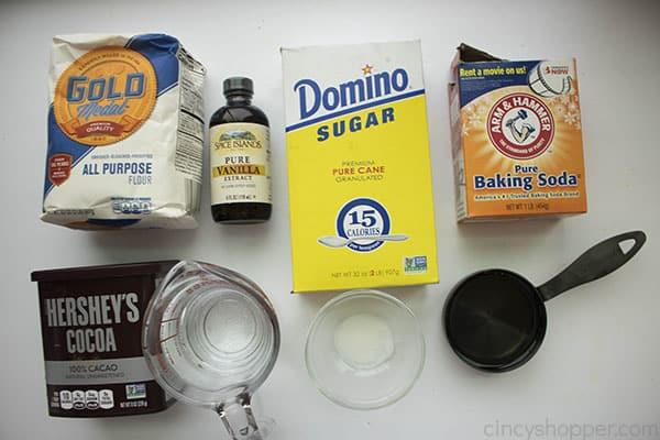 ingredients to make a vegan chocolate cake recipe