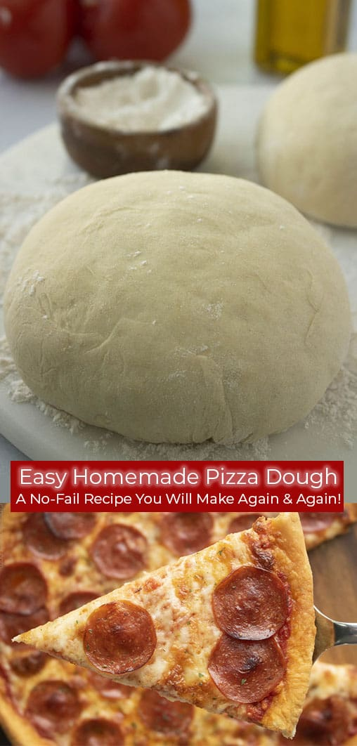 Long collage with homemade pizza dough ball