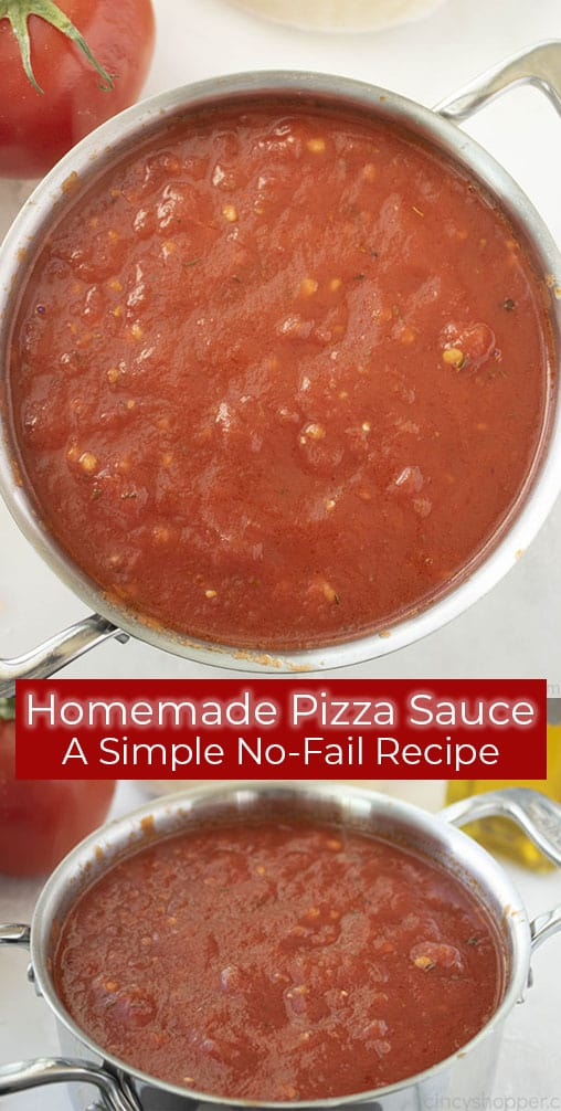 Long pin image of an easy sauce recipe for pizza