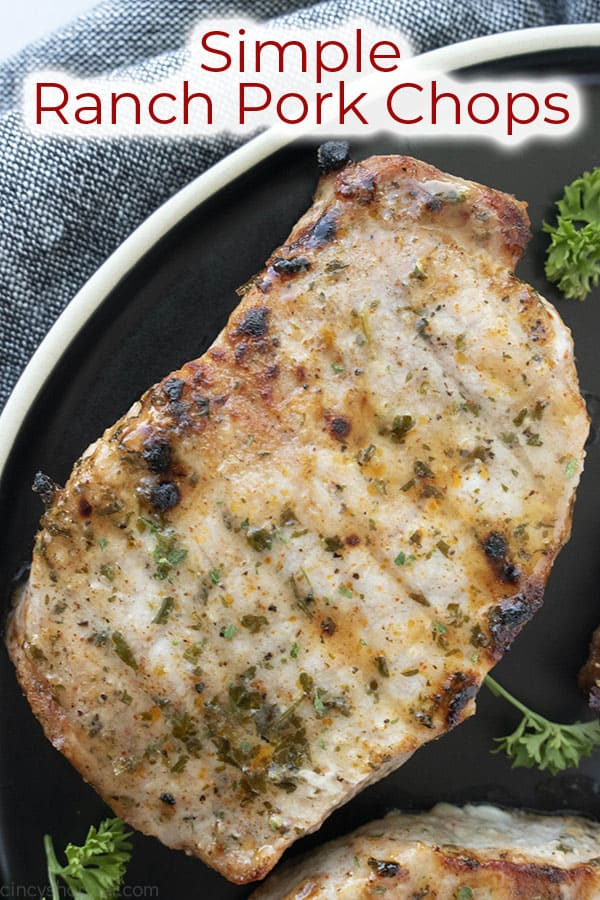 Text on image Simple Ranch Pork Chop recipe