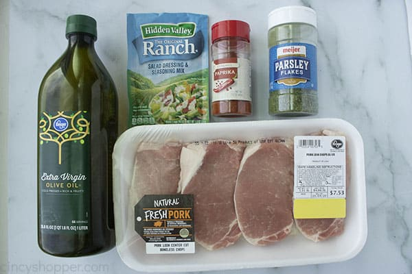 Ingredients for making Pork Chops with Ranch