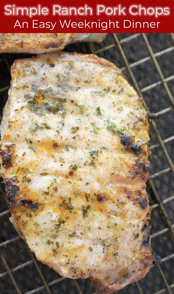 Text on image with baked Pork Chops with ranch flavor