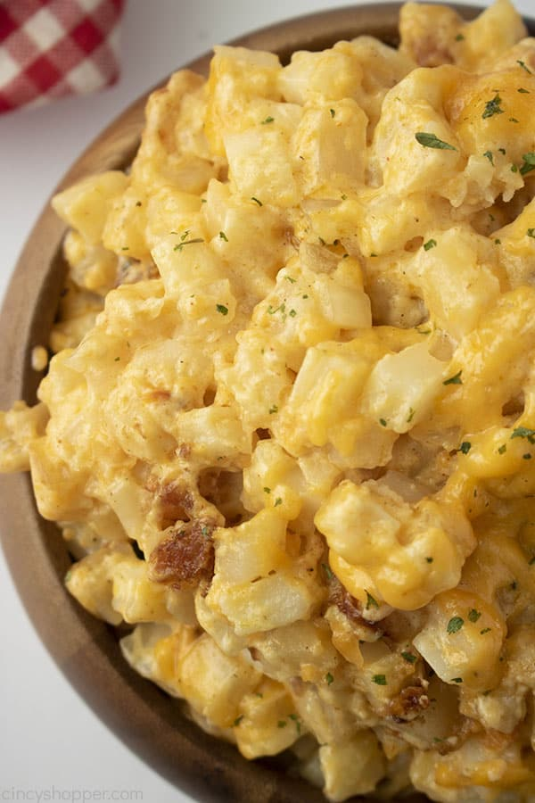 Bowl with slow cooked cheese potatoes