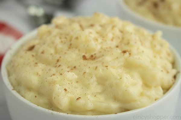White bowl with classic rice pudding