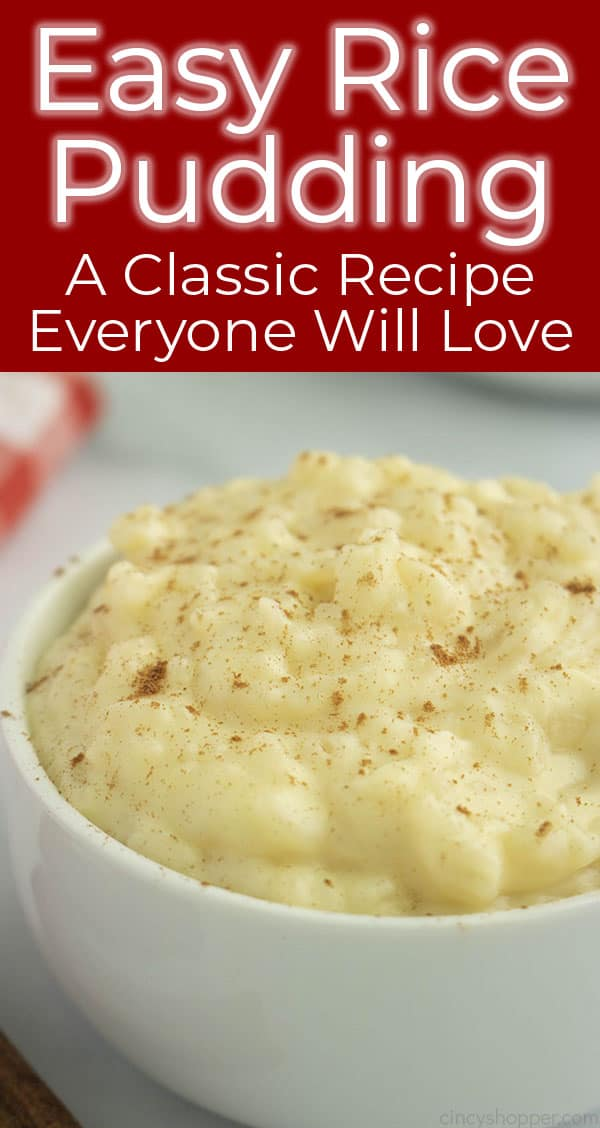 Long image with text rice pudding