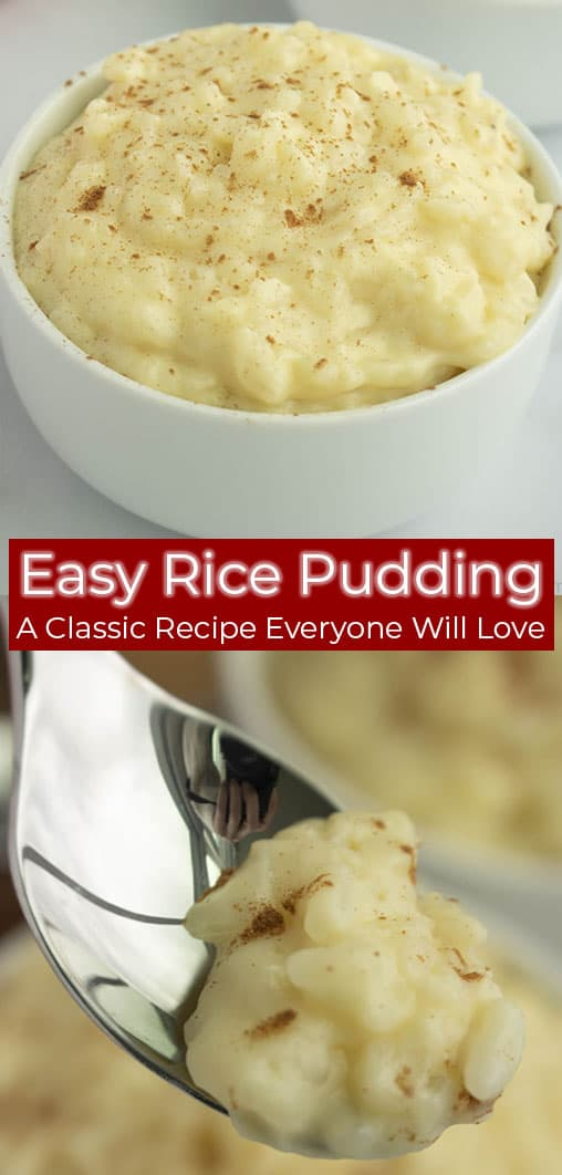 Long pin image of rice pudding and text