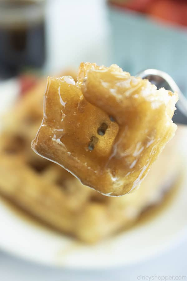 Waffle piece soaked with homemade syrup.