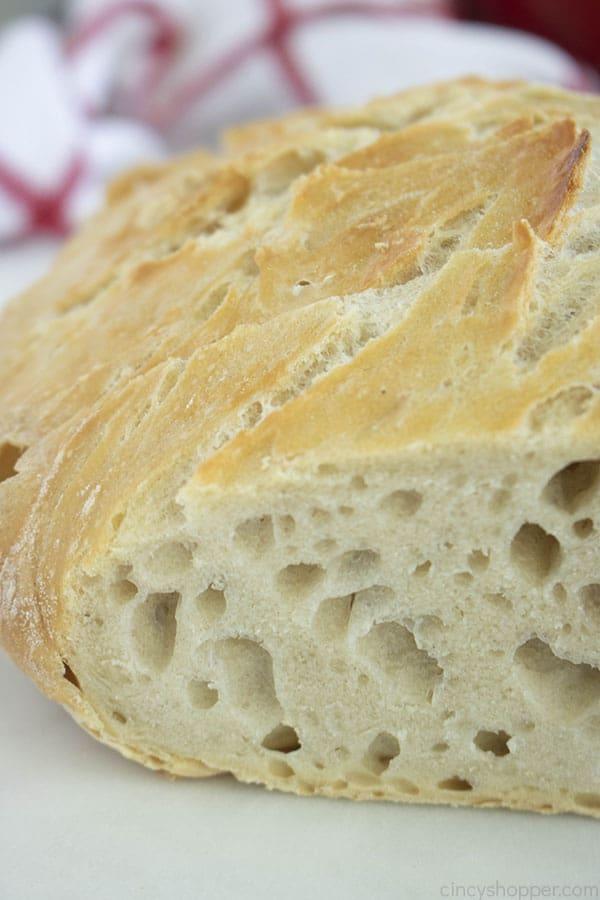 Slice of No Knead Bread