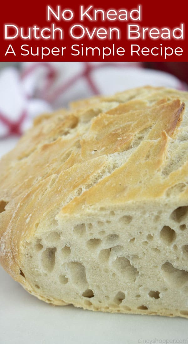 Long pin image with text Sliced Dutch Oven Bread