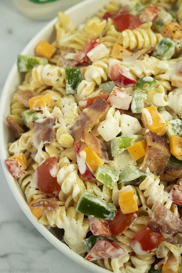 Ranch dressing Pasta Salad with bacon in a bowl