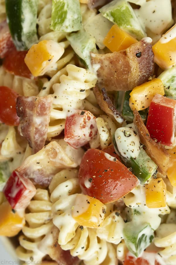 Closeup of ranch pasta sald