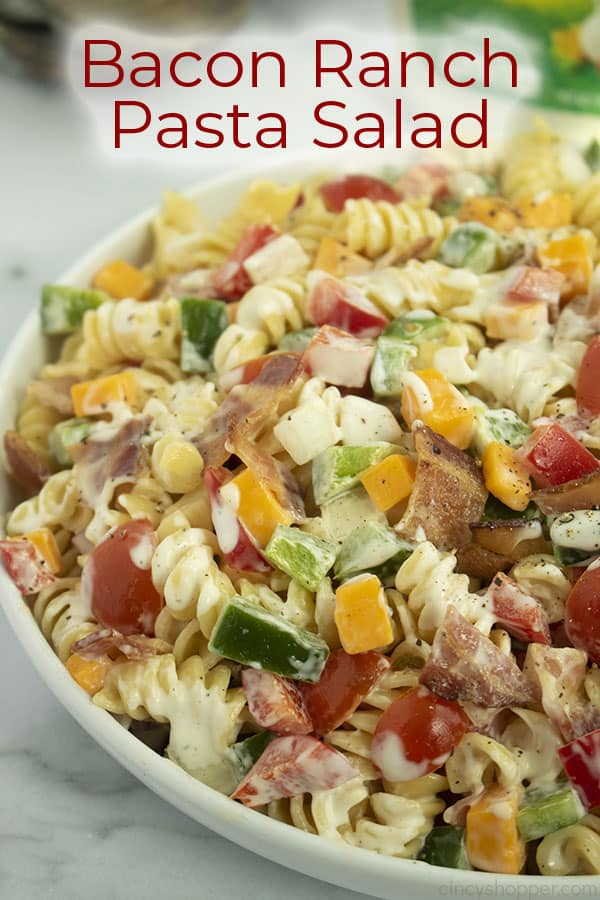 Text on image pin of Bacon Ranch Pasta Salad