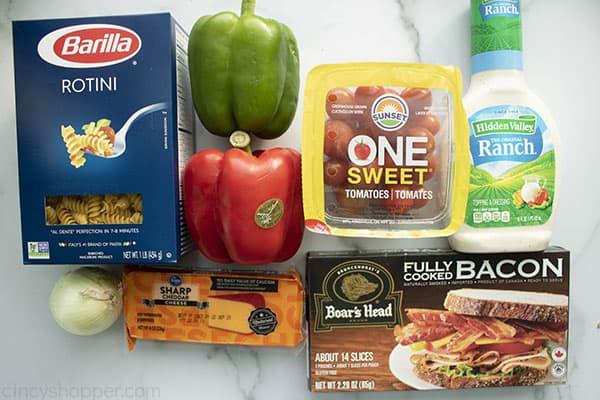 Ingredients to make ranch pasta salad.