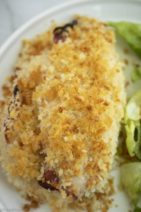 breaded chicken and salad on a plate