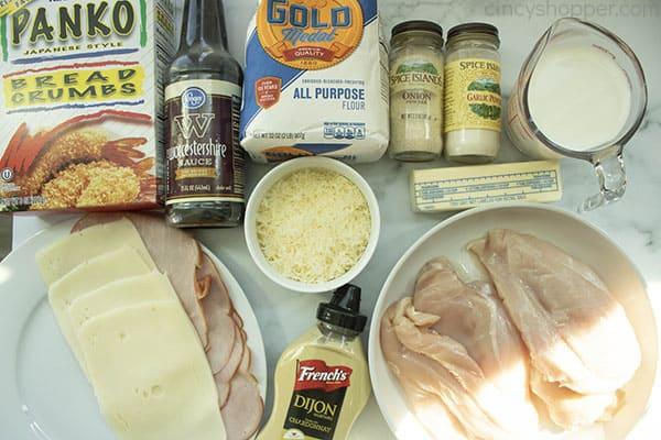 ingredients to make baked chicken cordon bleu
