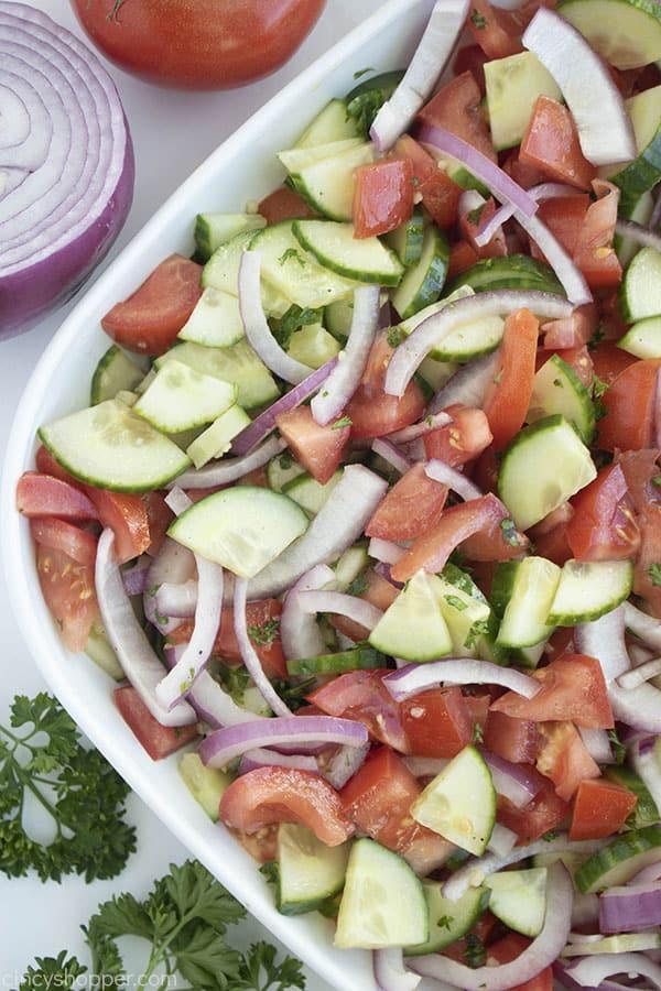 bowl of vegetable salad and fresh ingredients