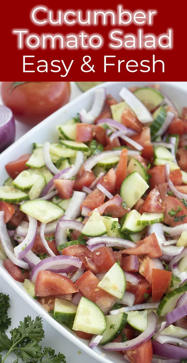 bowl of vegetable salad titled cucumber tomato salad easy and fresh