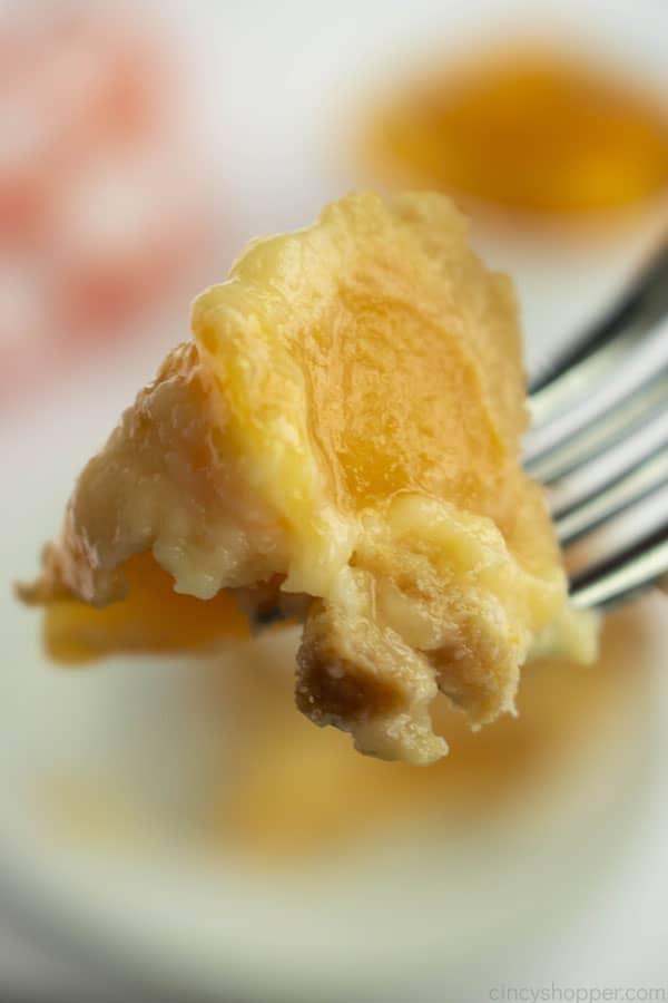 Closeup of creamy custard peach pie