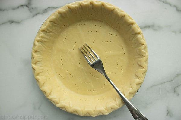 Fork poked pie crust