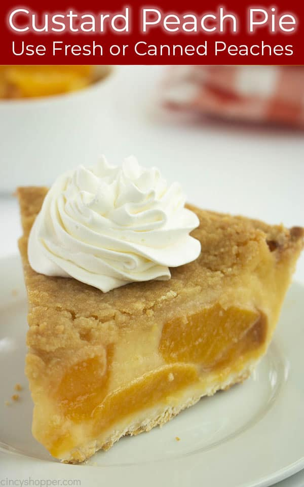 Log pin with text on image custard pie with peaches