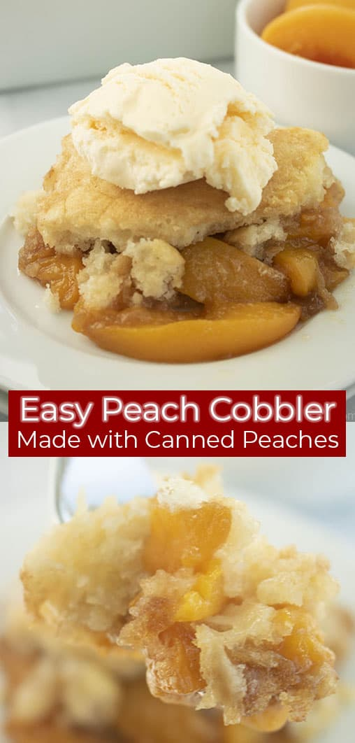 Long pin text on image with easy peach cobbler