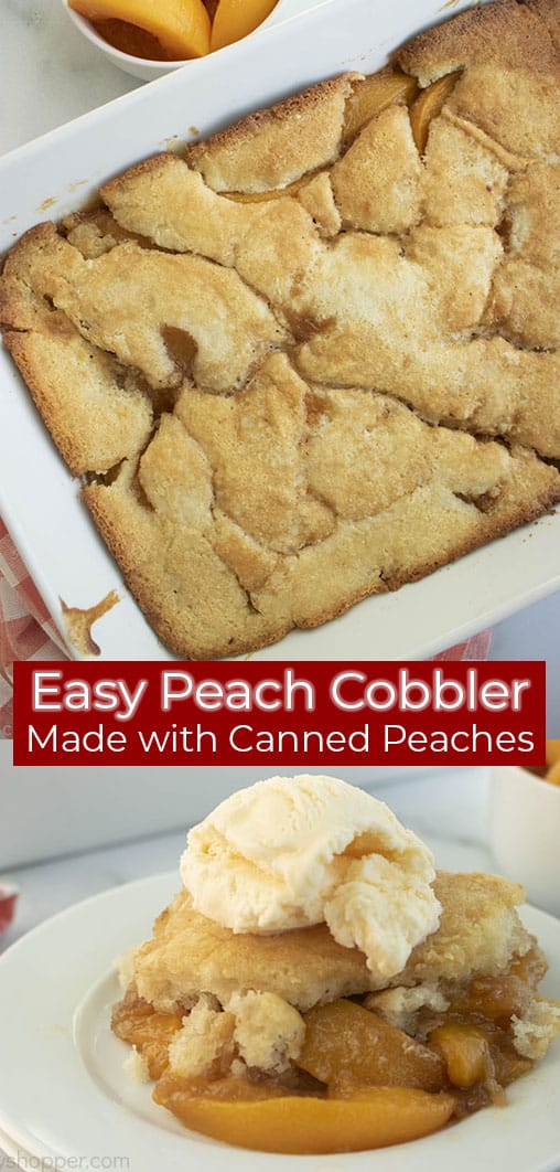 Long pin with Peach Cobbler from canned peaches