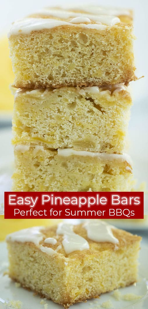 Long pin with text of Pineapple Bars