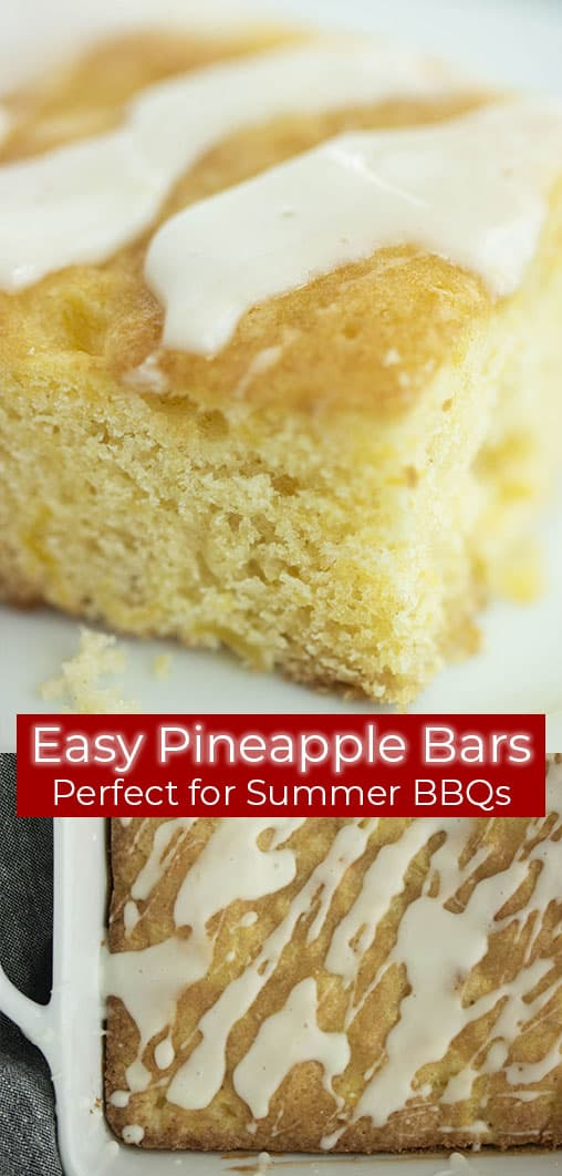 Long pin with text Easy Pineapple Glazed Bars