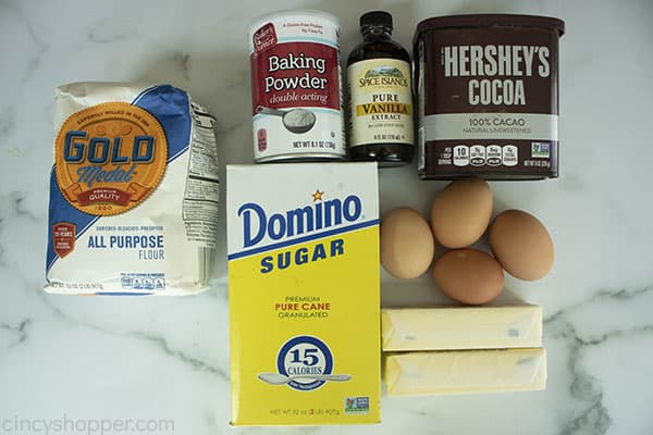 ingredients on counter to make Hershey cocoa brownies