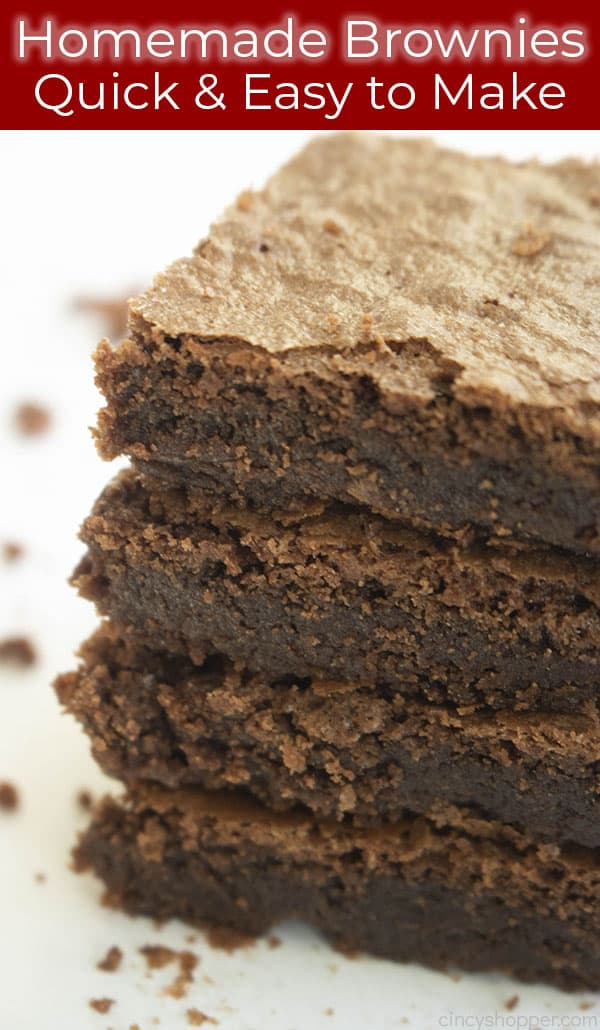 titled photo showing stack of homemade Hershey brownies