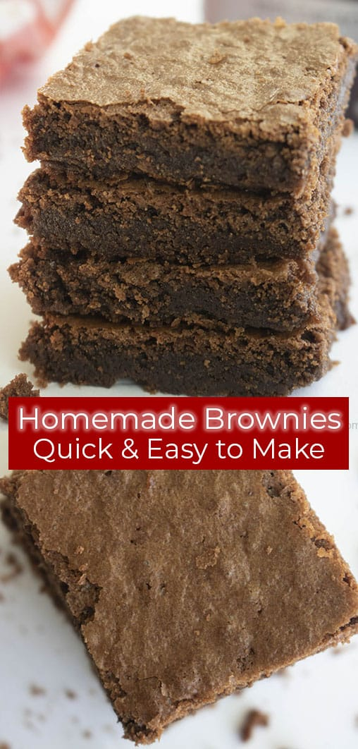 titled photo (and shown): Homemade Brownies - quick and easy to make
