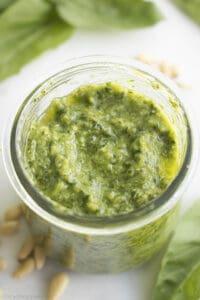 glass jar of homemade pesto