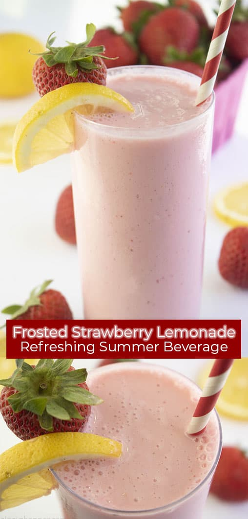 Long pin with Frosted Strawberry Lemonade, Refreshing Summer Beverage text