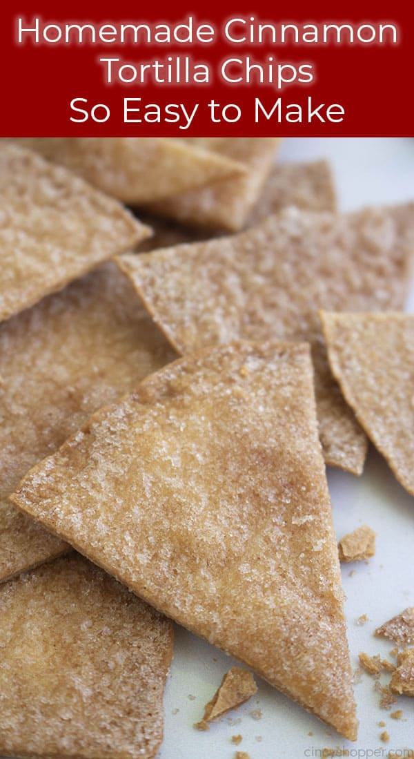 Long Pin image of stacked cinnamon chips and crumbs. Text on image So easy to make