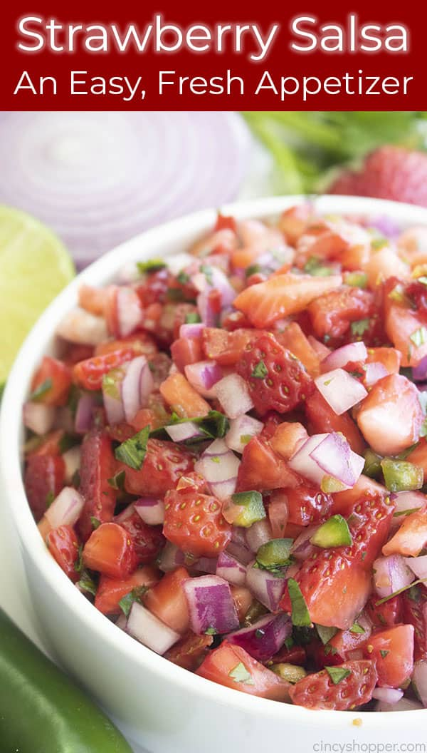 Long Pin, fruit salsa in white bowl, Text on Image: An Easy, Fresh Appetizer