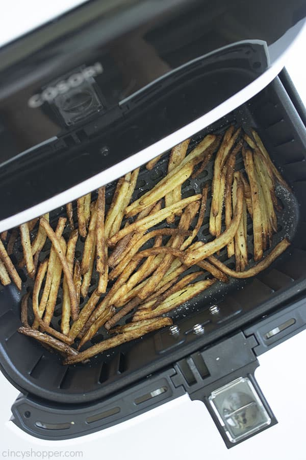 Homemade fries in a white air fryer