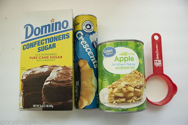 Ingredients for mini apple pies with crescent krolls.